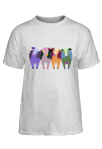 cow design on a t-shirt with light fabric